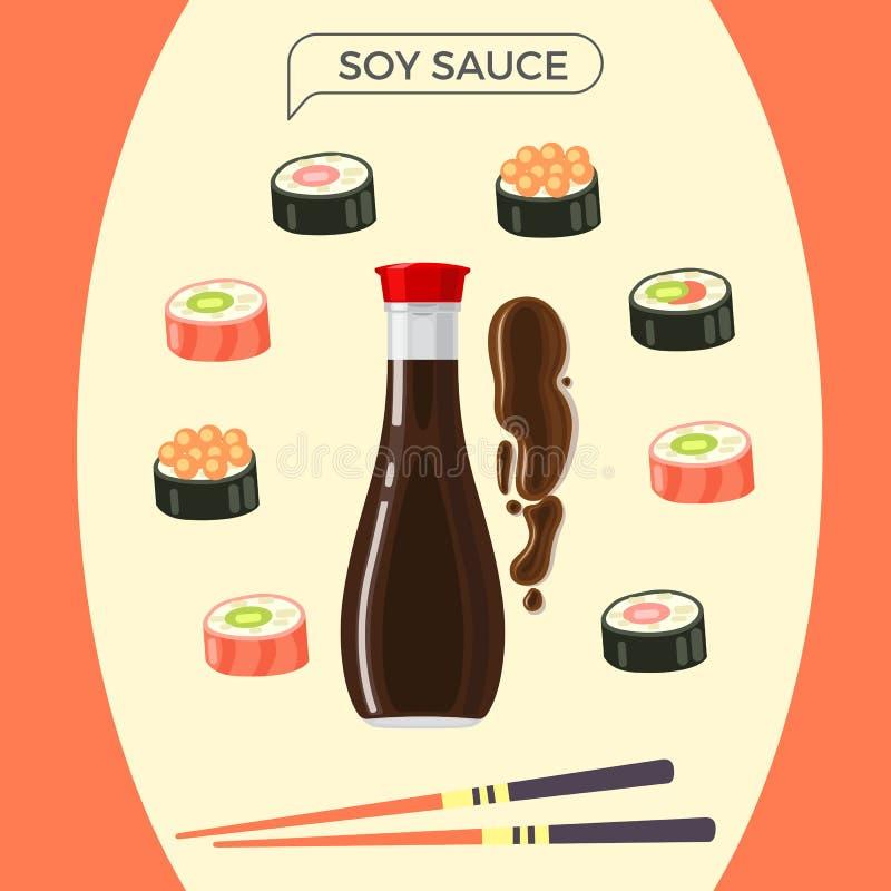 Soy Sauce Bottle with Sushi Set and Chopsticks stock illustration