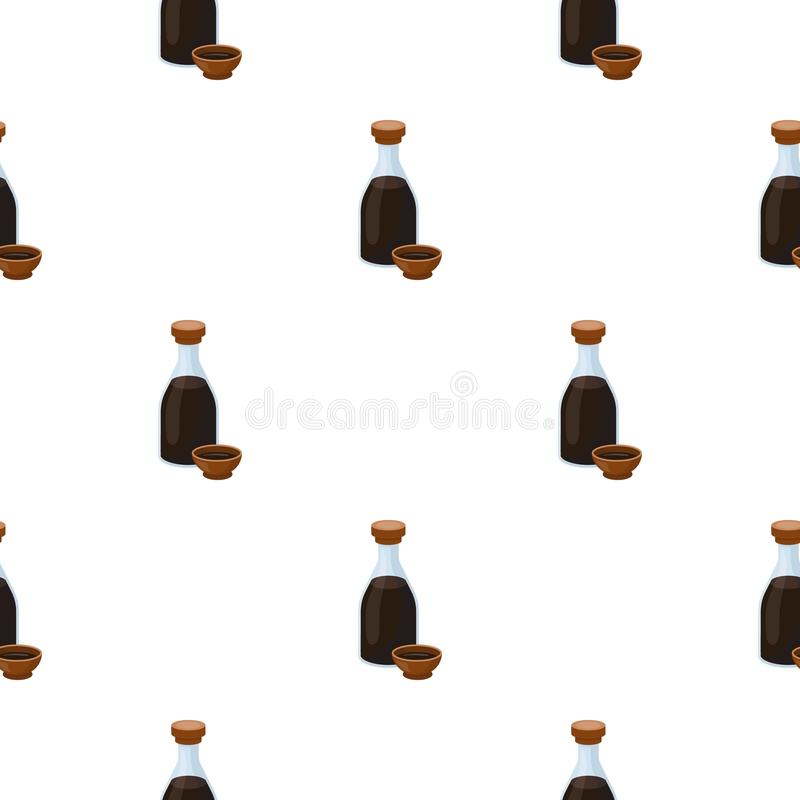 Soy sauce icon in cartoon style isolated on white background. Sushi pattern stock vector illustration. Soy sauce icon in cartoon style isolated on white vector illustration