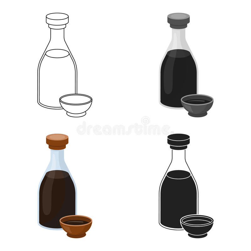 Soy Sauce Icon In Cartoon Style Isolated On White Background Sushi
