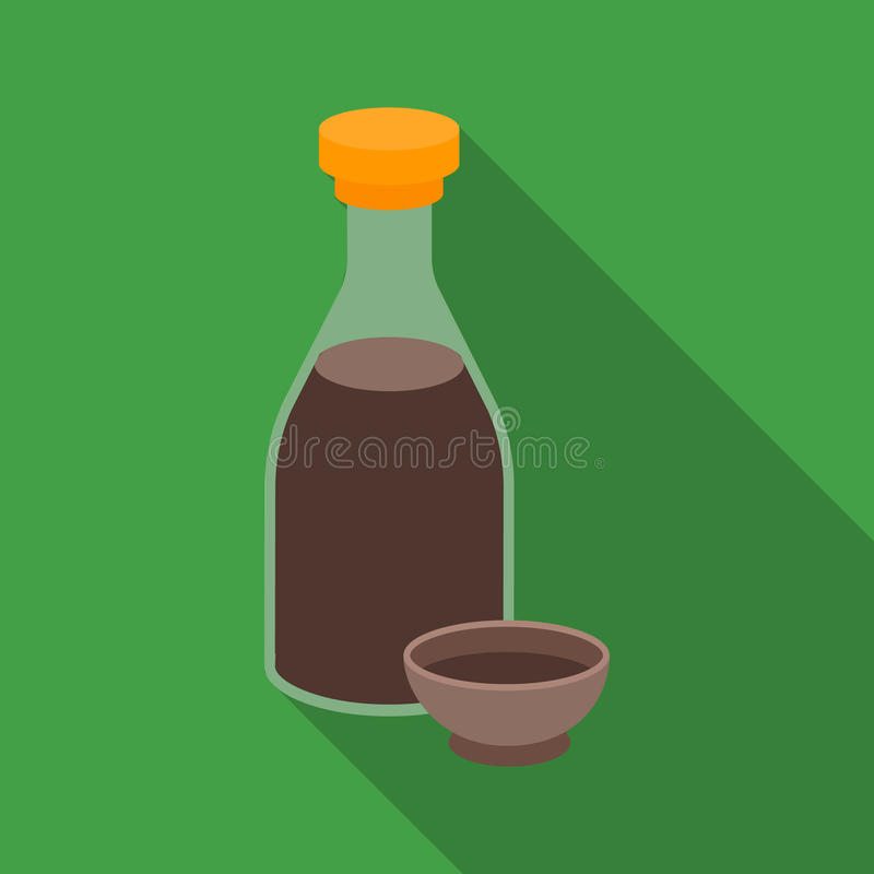 Soy Sauce Icon In Flate Style Isolated On White Background Sushi