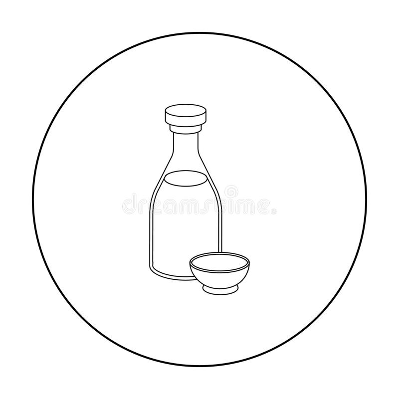 Soy sauce icon in outline style isolated on white background. Sushi symbol stock vector illustration. Soy sauce icon in outline style isolated on white stock illustration