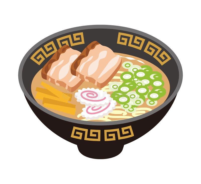 Soy sauce Ramen Noodles. Japanese Cuisine vector illustration