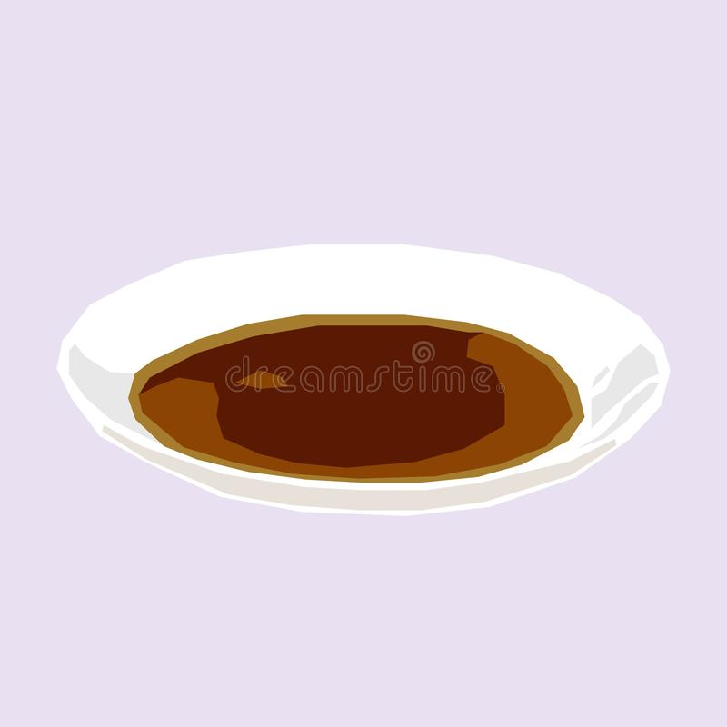 Soy sauce on tiny white plate icon logo avatar royalty free illustration