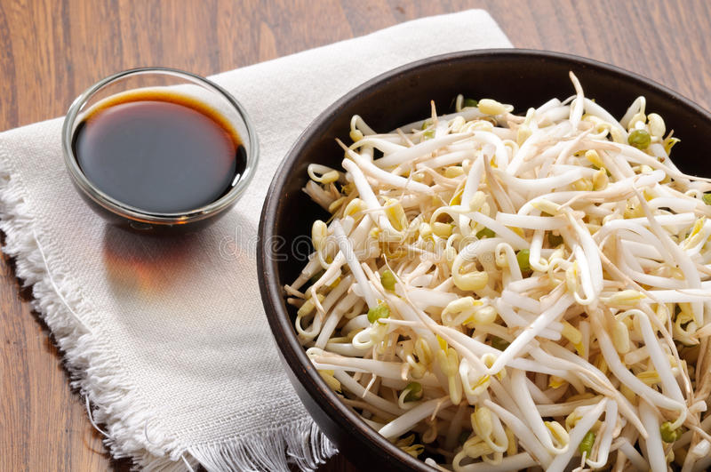 Soy Sprout In The Bowl And Soy Sauce Stock Photo