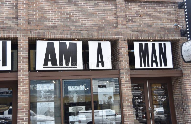 Soy un lema de la huelga del saneamiento del hombre, calle de Beale, Memphis, TN fotos de archivo