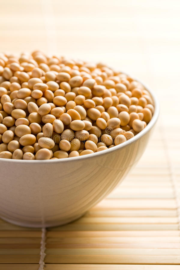Soya Beans In Ceramic Bowl Royalty Free Stock Photography