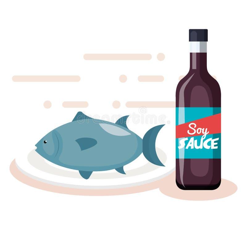 Soyaflaska med fisken vektor illustrationer