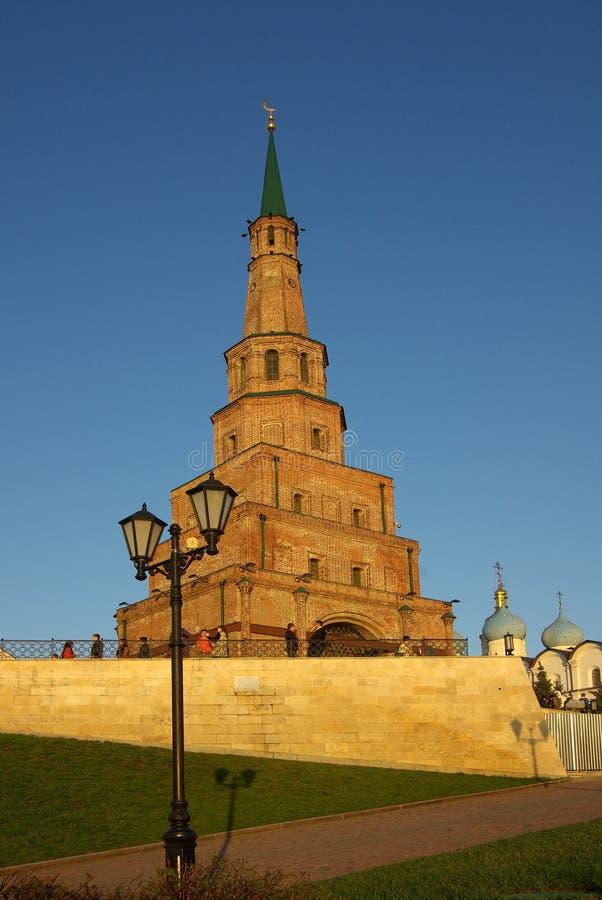 Soyembika Tower and Palace Church in Kazan Kremlin royalty free stock image