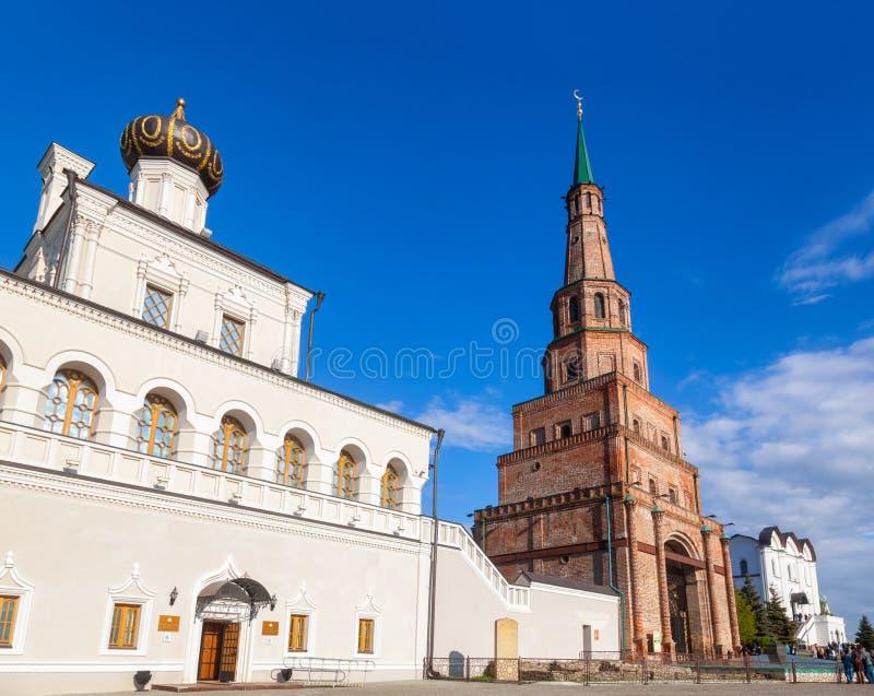Soyembika wierza i Domowy kościół Kazan Kremlowski Tatarstan Rus fotografia stock