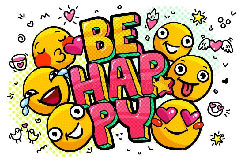 Soyez bulle heureuse de mot illustration stock