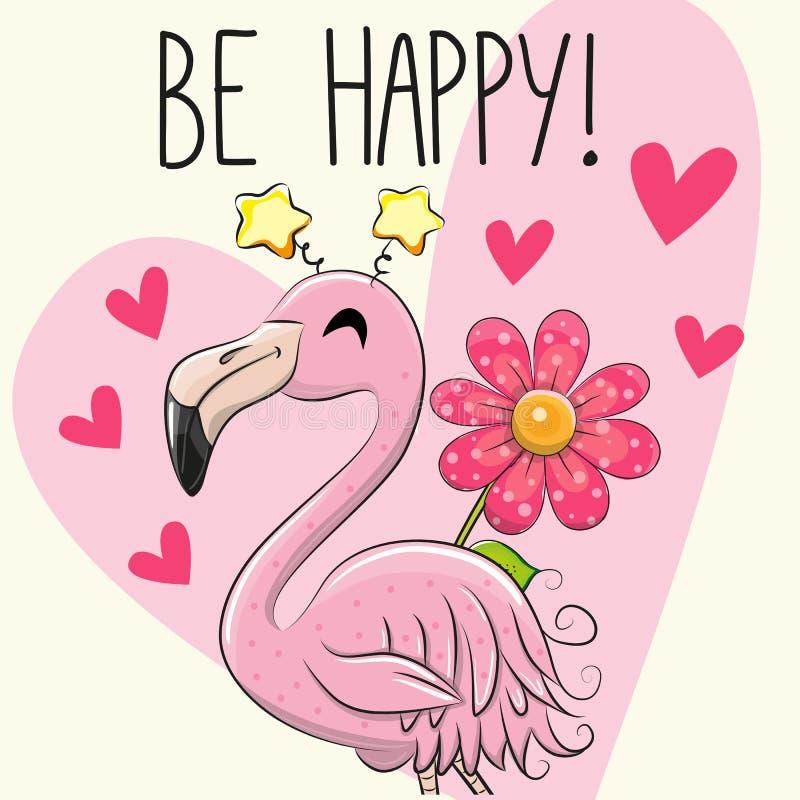 Soyez carte de voeux heureuse avec le flamant de bande dessinée illustration stock