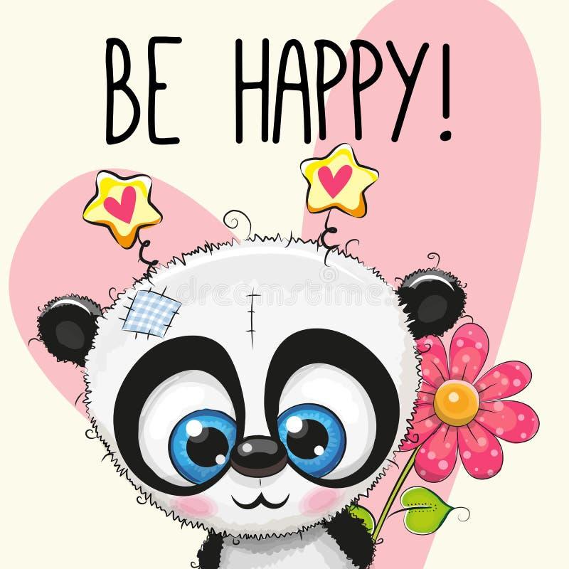 Soyez carte de voeux heureuse avec le panda illustration stock