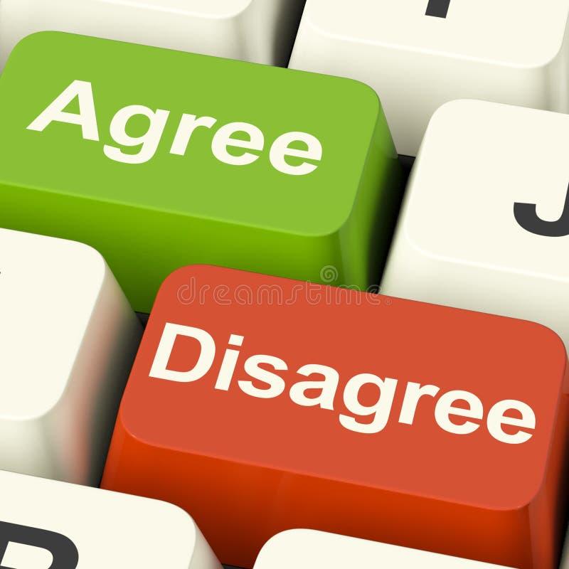 Soyez en désaccord et convenez les clés pour le scrutin ou le vote en ligne image stock