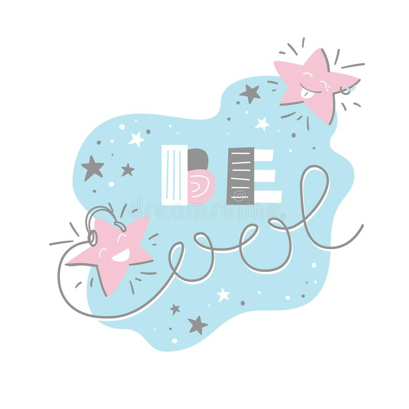 Soyez frais Bande dessinée plate de vecteur avec les étoiles riantes mignonnes et l'expression illustration stock