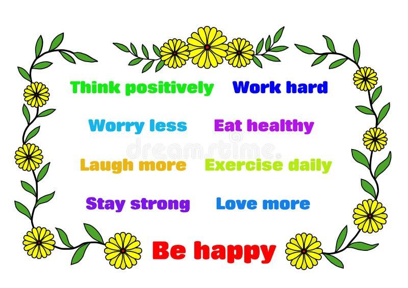 Soyez heureux - des affirmations illustration stock