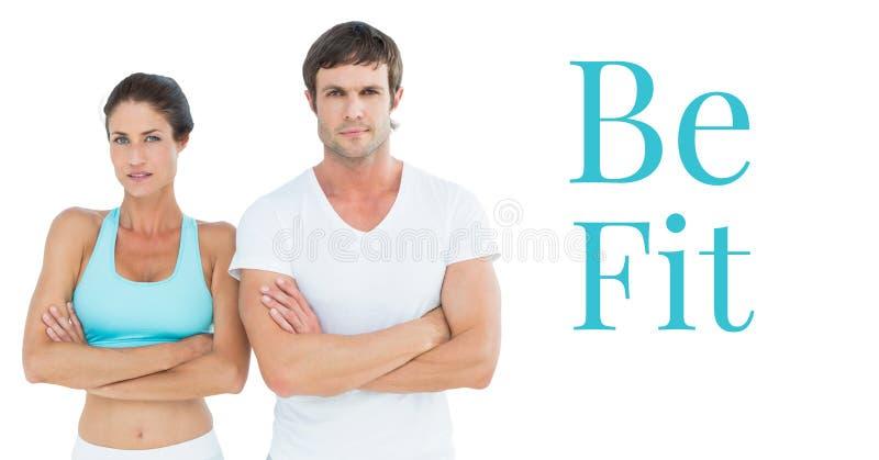 Soyez les couples convenables des textes et de forme physique photo libre de droits