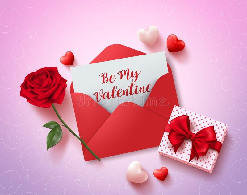 Soyez ma conception de vecteur de carte de voeux de valentines avec la lettre d'amour rouge illustration stock