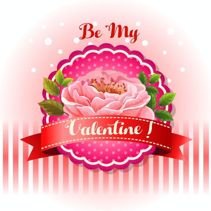 Soyez ma fleur de carte de valentine belle illustration de vecteur