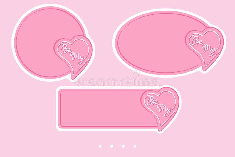 Soyez mes insignes pour le jour de valentine Conception simple de vecteur à vendre, salutations, autocollants, annonce de page We illustration stock