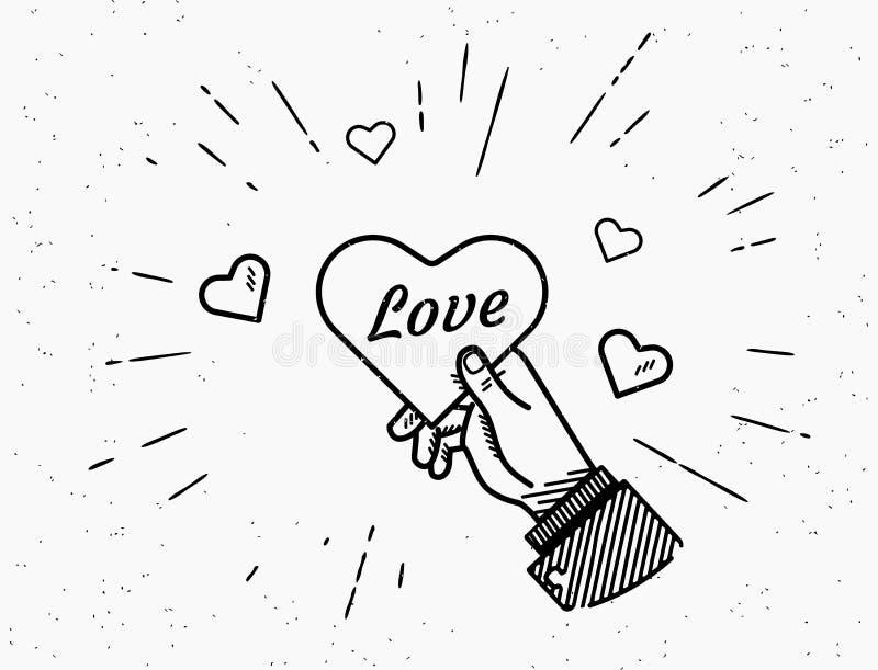 Soyez mon texte décoratif manuscrit de Valentine avec des coeurs de rayon de soleil et de rouge illustration stock