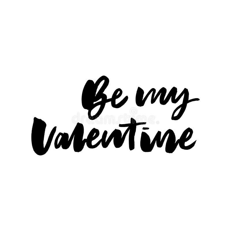 Soyez mon texte de valentine Valentine' ; typographie de s Illustration de vecteur de Valentine Greeting Card avec le coeur N illustration de vecteur