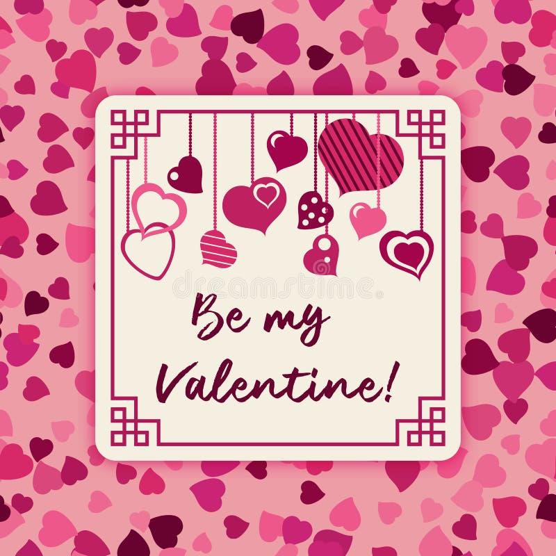 Carte Postale Au Jour Du Coeur De Valentine Sur Un Fond Pourpre Illustration de Vecteur ...