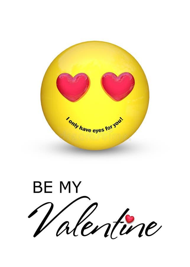 Soyez mon Valentine Emoji avec des yeux de coeur illustration de vecteur