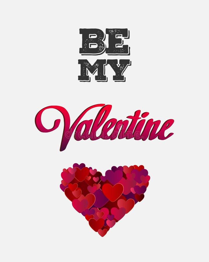 Soyez mon vecteur de valentine avec le coeur illustration de vecteur