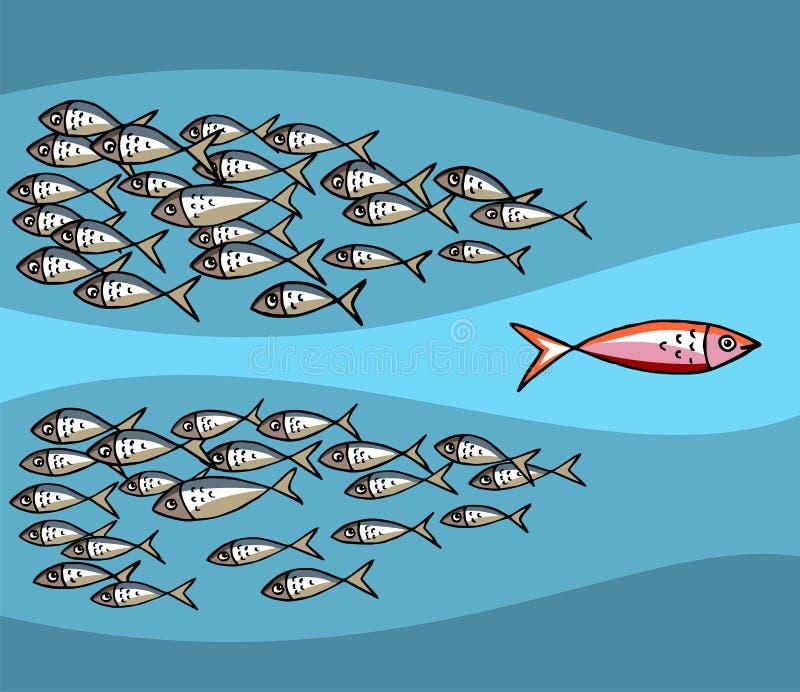 Soyez seul : Pêchez la natation contre la marée illustration stock