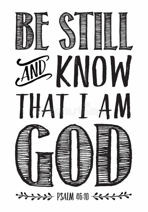 Soyez toujours et sachez que je suis affiche d'écriture sainte de bible de Dieu illustration libre de droits
