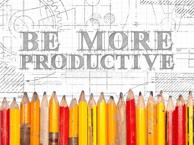 Soyez un signe plus productif de crayons image libre de droits