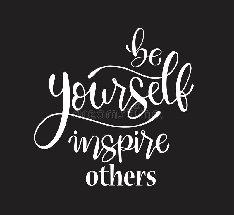 Soyez vous-même inspirer d'autres, main marquant avec des lettres le texte d'inscription, motivation et citation positive d'inspi illustration de vecteur
