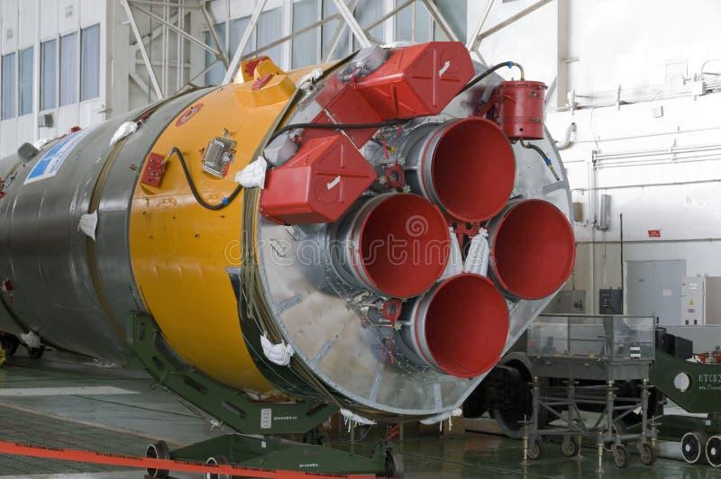 Soyuz太空火箭集合大厦 免版税图库摄影