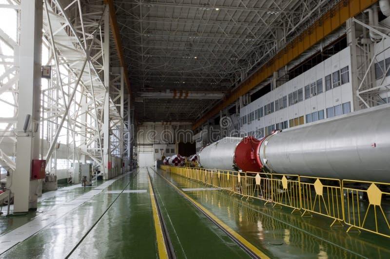 Soyuz太空火箭集合大厦 库存图片