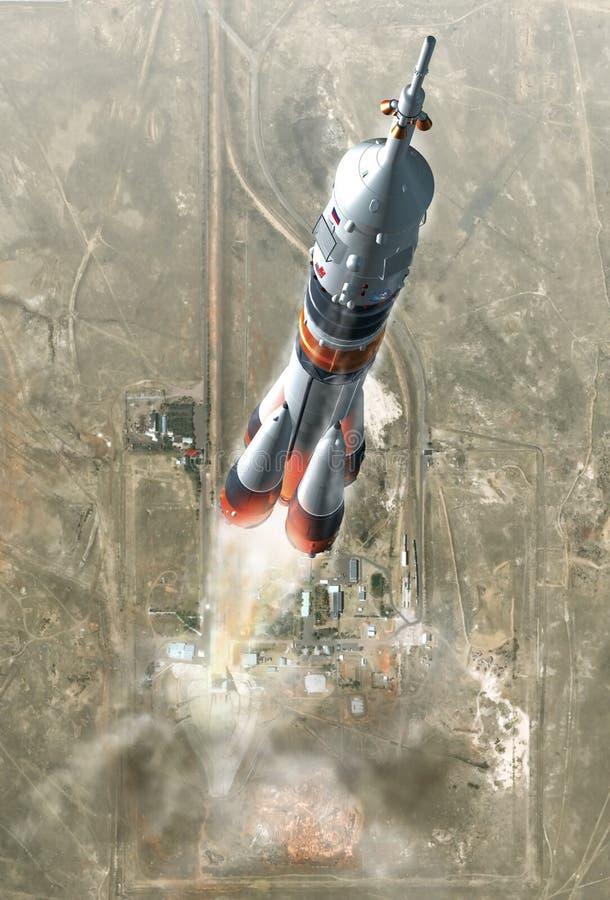 Soyuz, das am baïkonour startet lizenzfreies stockbild