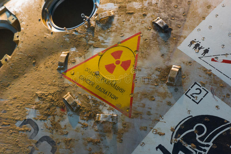 Space Capsule Radioactive Sign. The Russian mission launched March 26, 2009, from Kazakhstan and seven months later, this module returned to Earth. The Soyuz stock photo