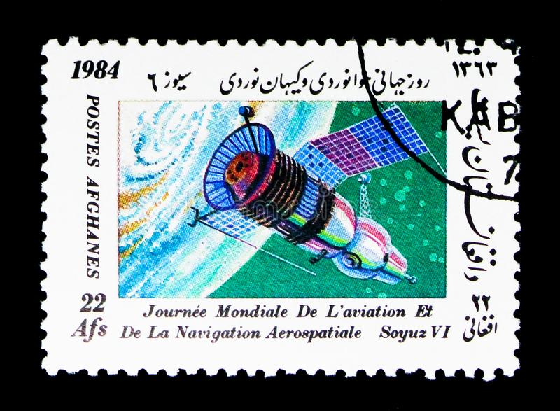 Soyuz VI, World Aviation and Space Navigation Day serie, circa 1. MOSCOW, RUSSIA - DECEMBER 21, 2017: A stamp printed in Afghanistan shows Soyuz VI, World stock photography
