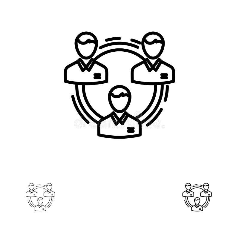 Sozial-, der Struktur mutige und dünne schwarze Linie Ikonensatz des Teams, des Geschäfts, der Kommunikation, der Hierarchie, der vektor abbildung