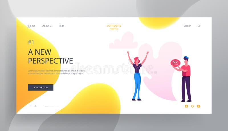 Sozialblog-Website-Landungs-Seite, Frauen-Stand mit den Händen herauf die Mann-Griff-E-Mail-Umschlag-Ikone, bloggend, Profil-Buch vektor abbildung