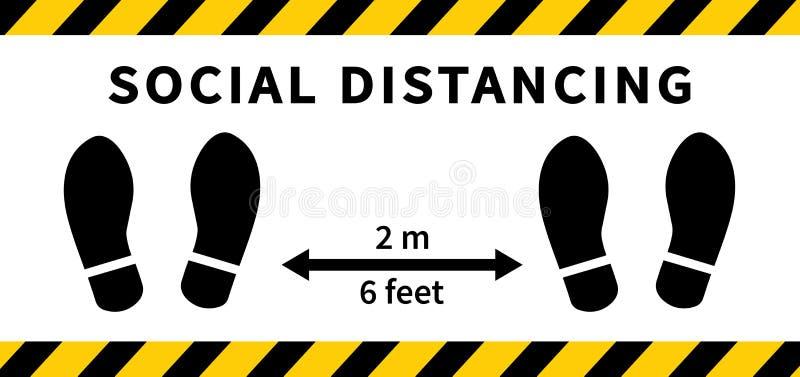 Soziale Distanzierung Footprint 2 Meter Abstand halten Schutz vor Koronovirus-Epidemie Vector lizenzfreie abbildung