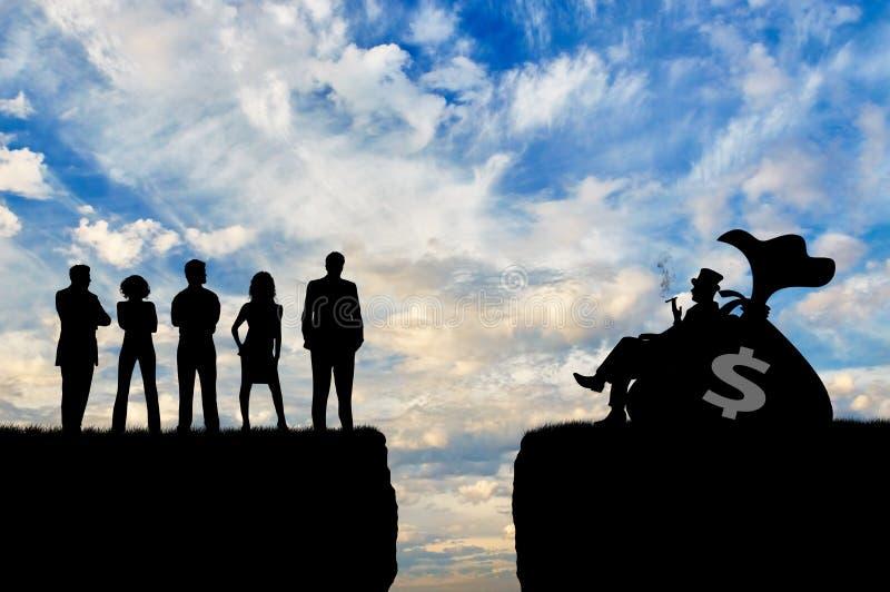 Soziale Ungleichheit zwischen reichen armen Leuten lizenzfreie stockbilder