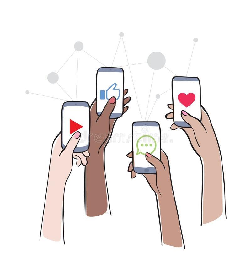Soziales Netz - Freunde, die auf Social Media aufeinander einwirken vektor abbildung