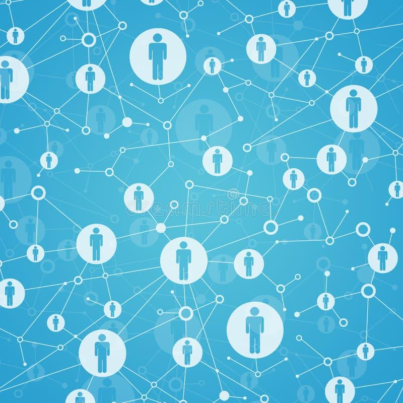 Soziales Netz. Im Gitter sind Punkte Leuteikonen vektor abbildung