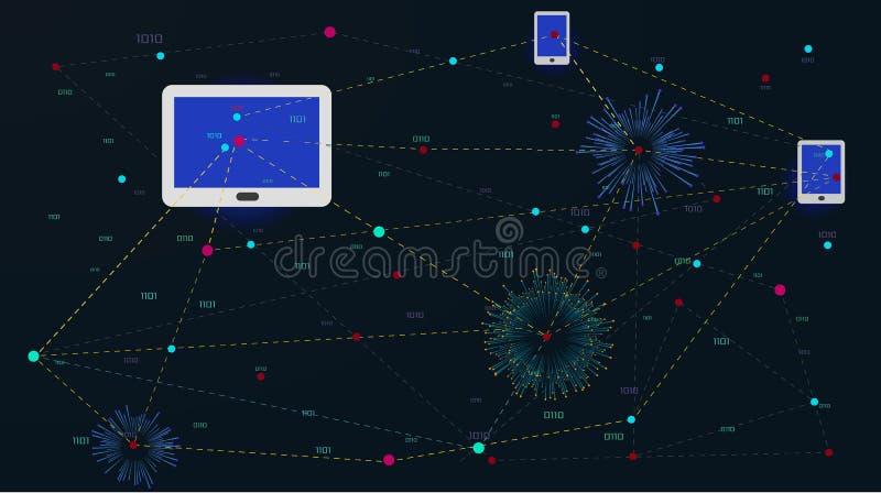 Soziales Netz, Leute, die auf der ganzen Erde anschließen stock abbildung