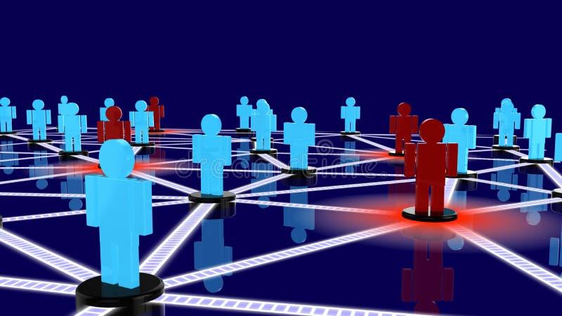 Soziales Netz mit blauen Kerlen und roten den Kerlen, die als Drohungen aufwerfen lizenzfreie abbildung