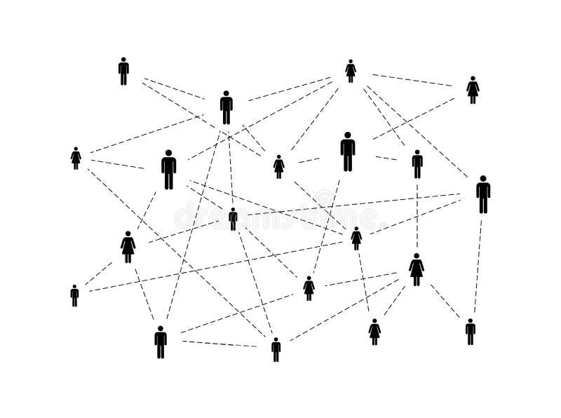Soziales Netz mit den einfachen Leuteikonen lokalisiert auf Weiß lizenzfreie abbildung