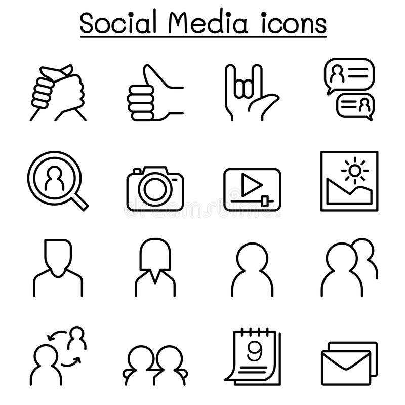 Soziales Netz, Social Media-Ikone stellte in dünne Linie Art ein stock abbildung
