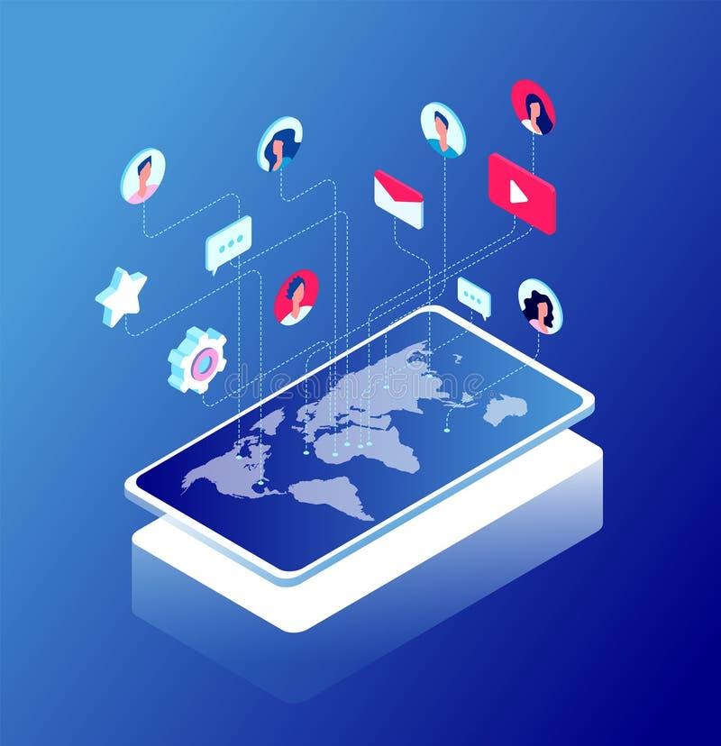Soziales Netz und Weltkarte Internet-Marketing-, wie und Mitteilungsikonen Plaudern und Internet-Kommunikation isometrisch vektor abbildung