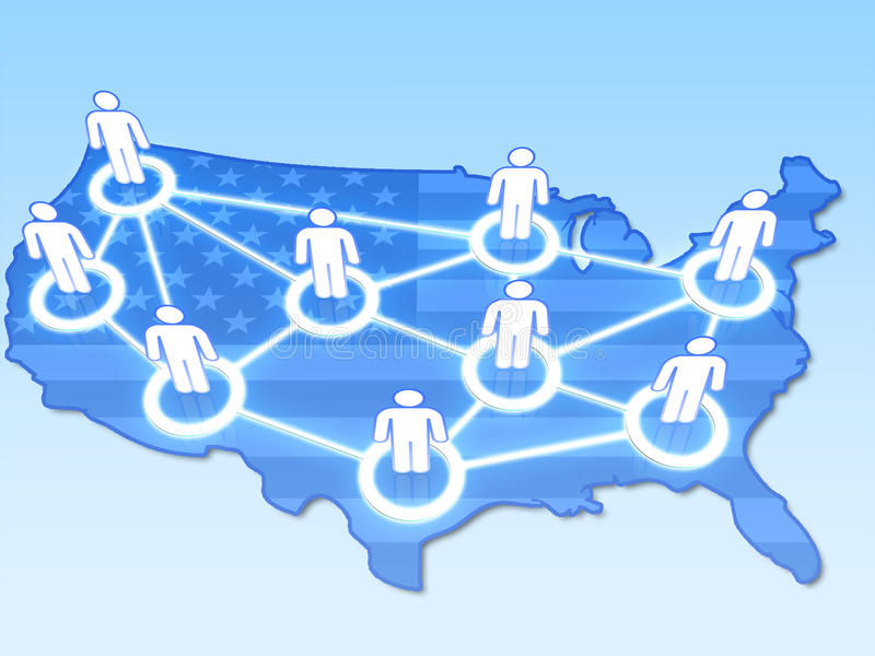 Soziales Netz in USA-Konzept 3D vektor abbildung