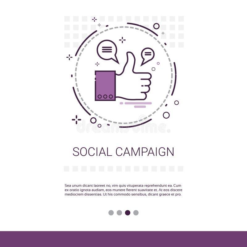 Sozialkampagnen-Management-Geschäfts-Inhalts-Informations-Netz-Fahne mit Kopien-Raum stock abbildung